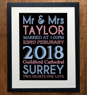 Classic Personalised Wedding Print