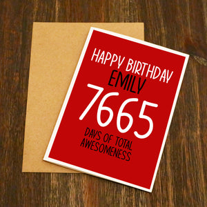 Personalised Days Of Awesomeness Birthday Card