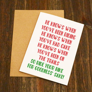 Ride Your Bike For Goodness' Sake Cycling Christmas Card