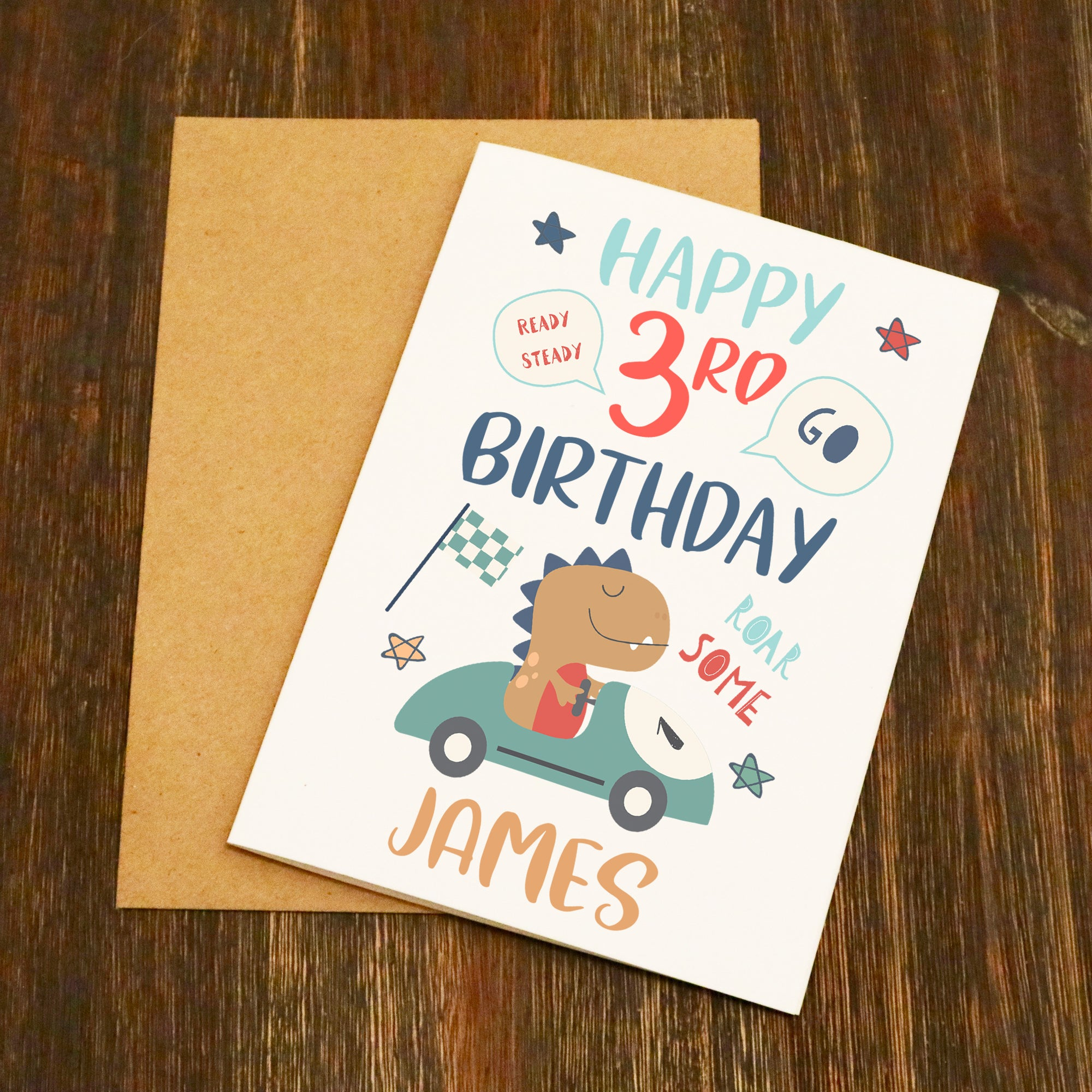 Personalised Name Age Roar Some Dinosaur Birthday Card