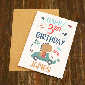 Personalised (Name & Age) Roar Some Dinosaur Birthday Card
