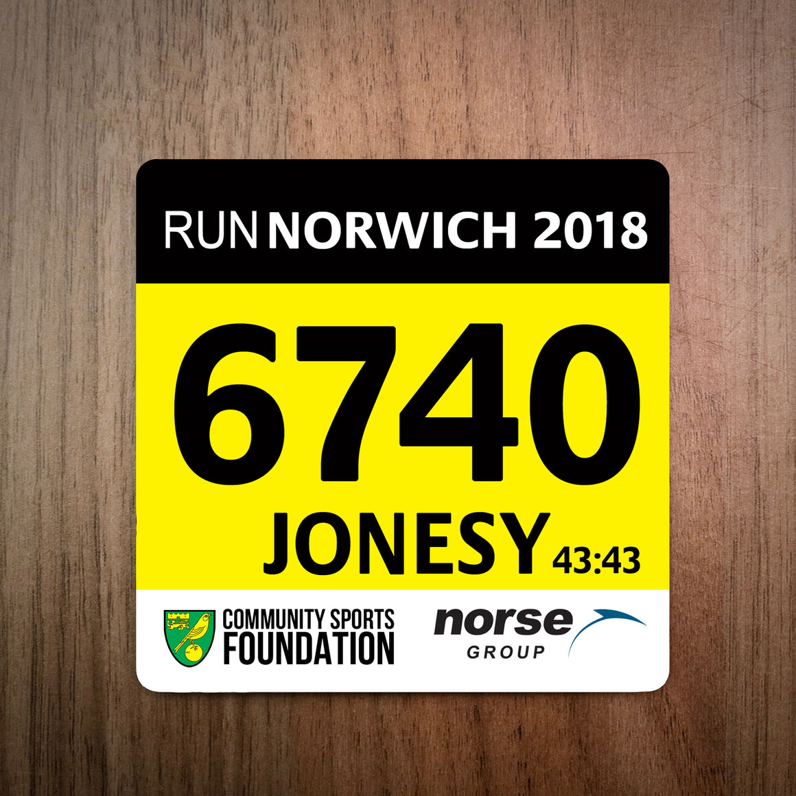 Run Norwich Race Bib Coaster 2018