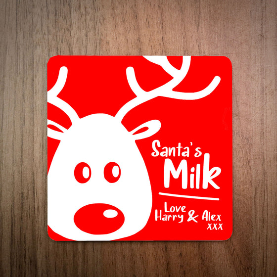 Santa's Milk/Beer Personalised Christmas Coaster