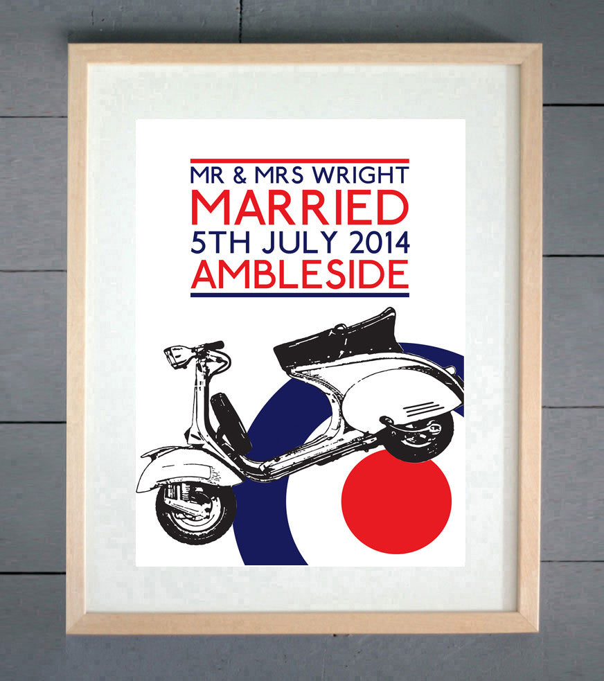 Mod Scooter Personalised Wedding Print