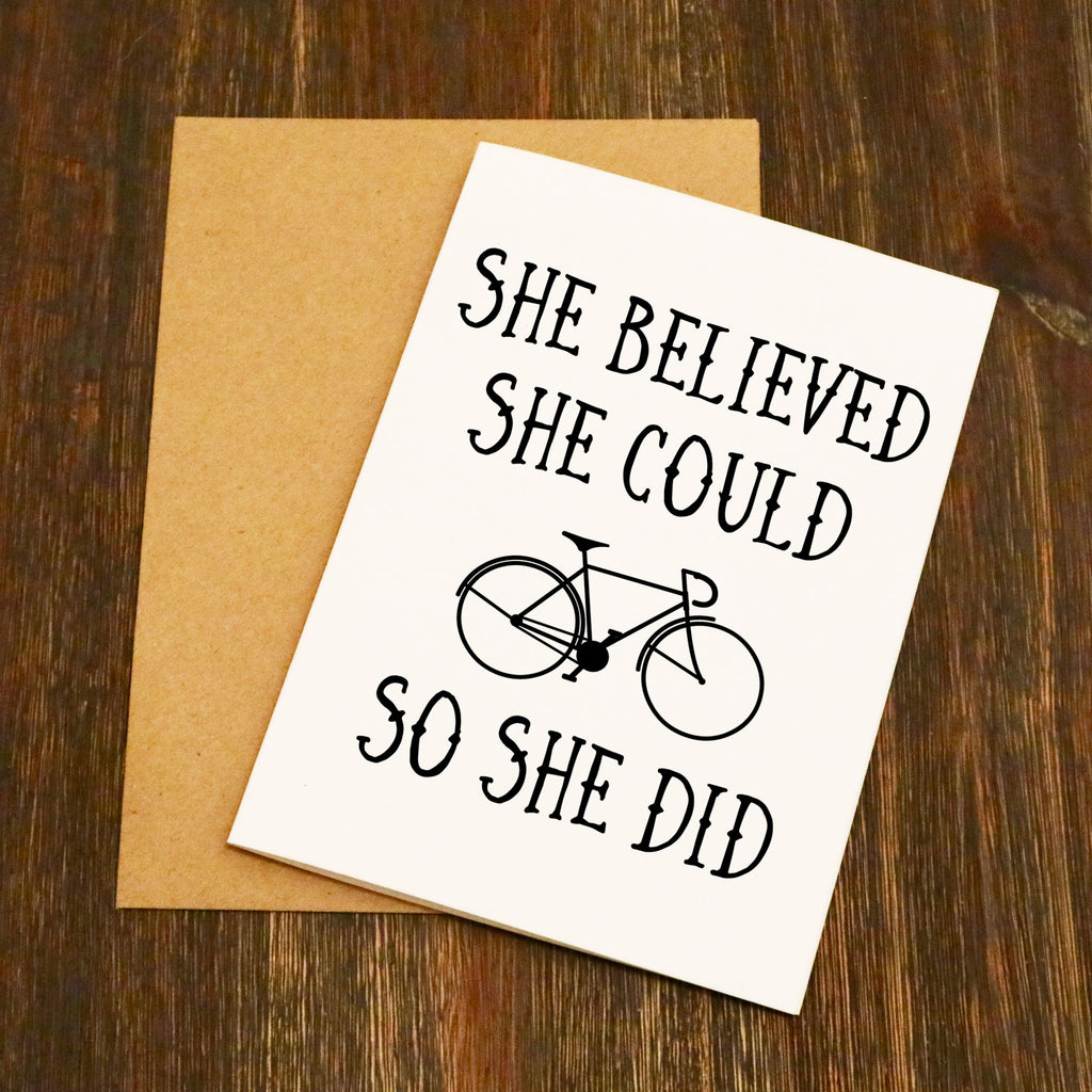 She Believed She Could So She Did Cycling Greetings Card