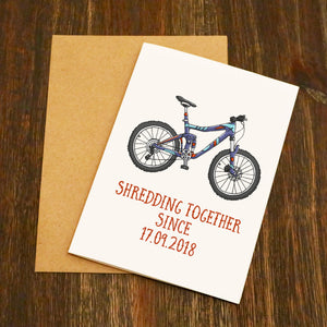 Personalised Shredding Together Mountain Bike Valentine's Card