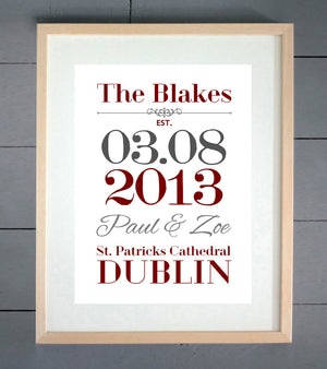 Simple Est Personalised Wedding Print