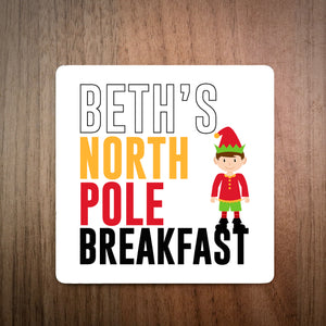 Personalised North Pole Breakfast Simple Coaster