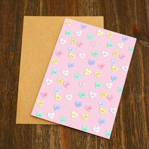 Pink Love Heart Sweets Valentine's Card