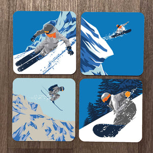 Ski & Snowboard Winter Sports Coaster Set