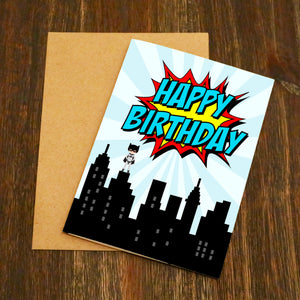 Skyline Superhero Birthday Card