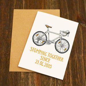 Personalised Stomping Together Road Bike Valentine's Card