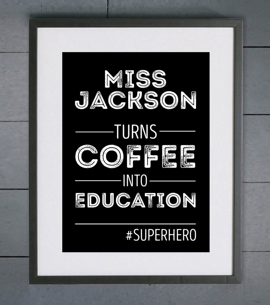 Super Hero Teacher Personalised Print