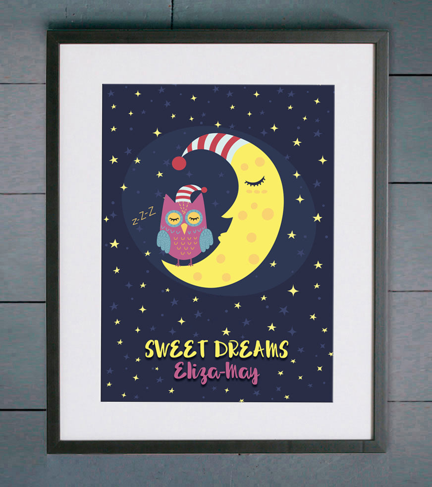 Owl & Moon Sweet Dreams Personalised Print