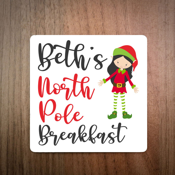 Personalised North Pole Breakfast Swirly Coaster - Girl Elf