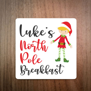 Personalised North Pole Breakfast Swirly Coaster - Boy Elf
