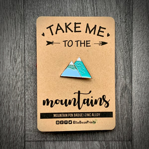 Mountains Enamel Pin Badge - Pastel
