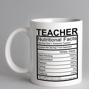 Nutritional Facts Teacher Mug