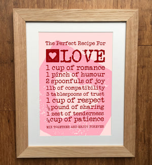 The Perfect Recipe For Love Print
