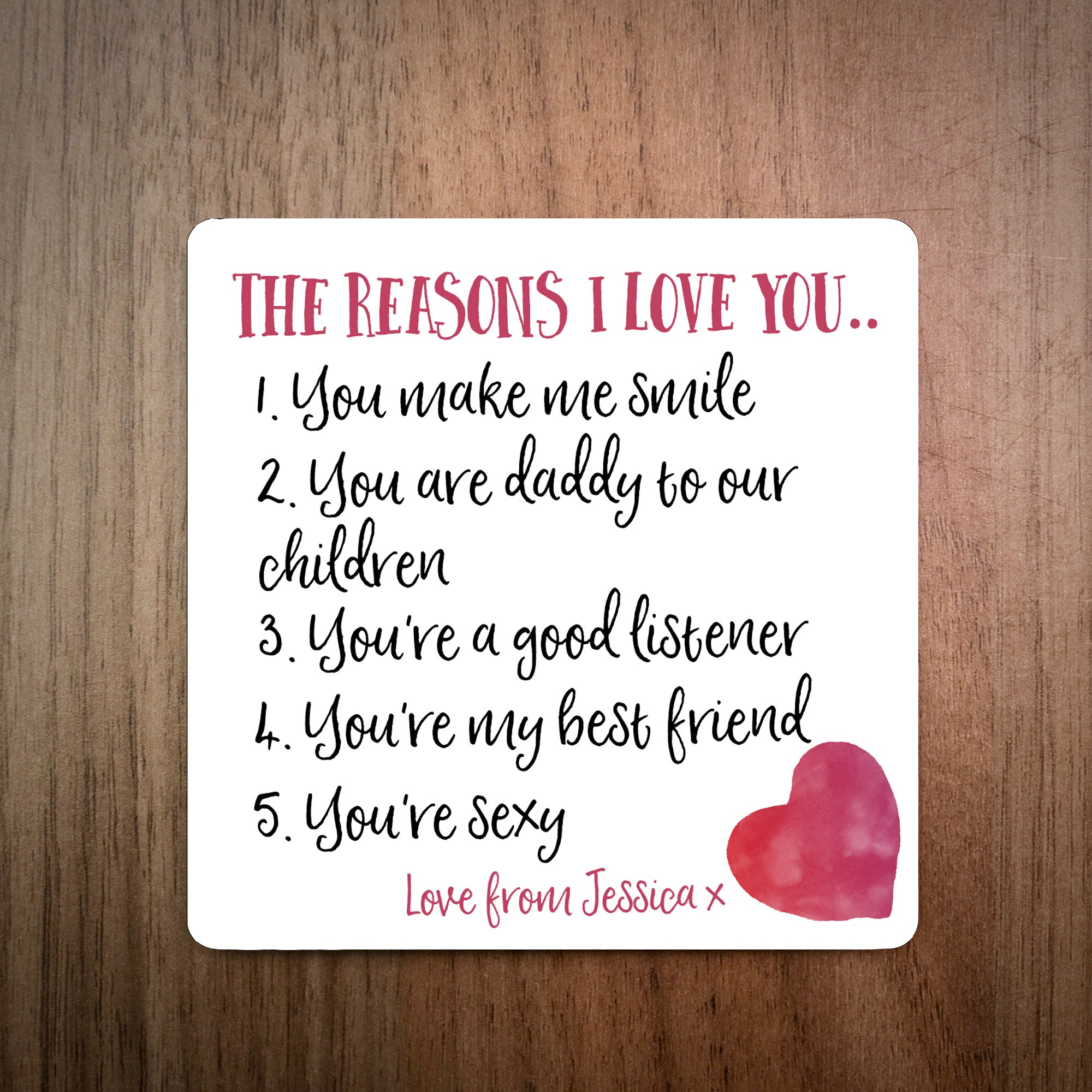 Reasons Why I Love You Personalised Coaster - EllieBeanPrints