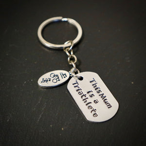 This Mum Is A Triathlete Hand Stamped Running Keyring