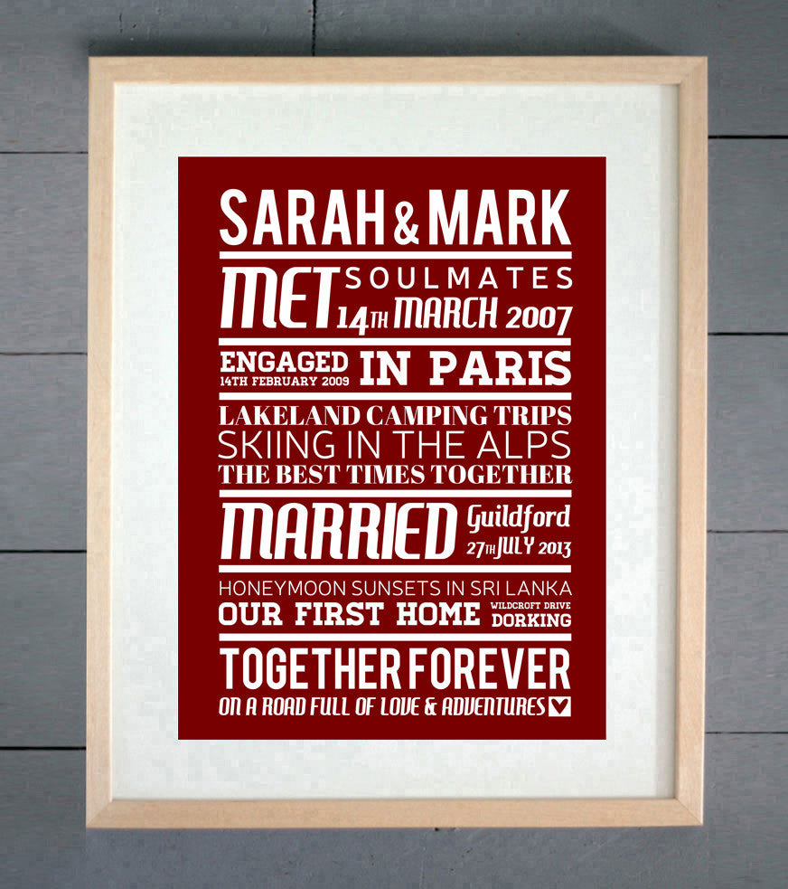 Together Forever Memories Personalised Print