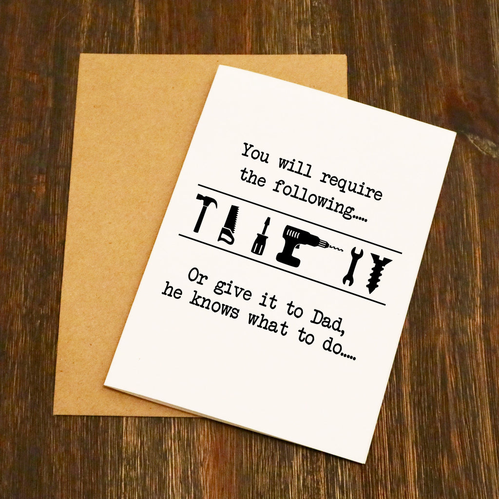 Give It To Dad Tool Symbols Father's Day Card