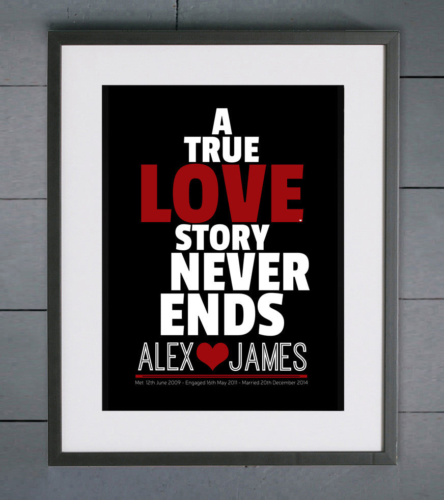 True Love Stories Personalised Wedding Print