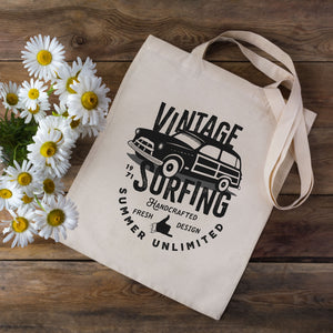 Vintage Surfing Retro Tote Bag