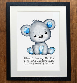 Water Coloured Bear Personalised Birth Details Print
