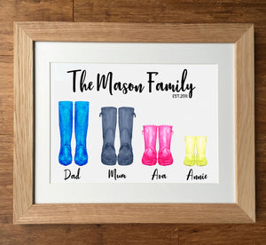 Watercolour Wellies Personalised Family Print