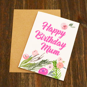 Beautiful Watercolour Flowers Birthday Card