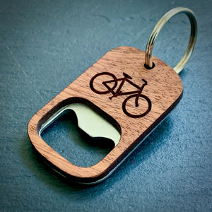 Wooden Bike Bottle Opener Key Ring