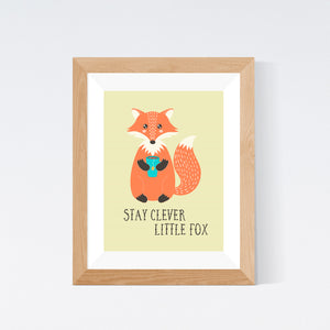Stay Clever Little Fox Woodland Nursery Print