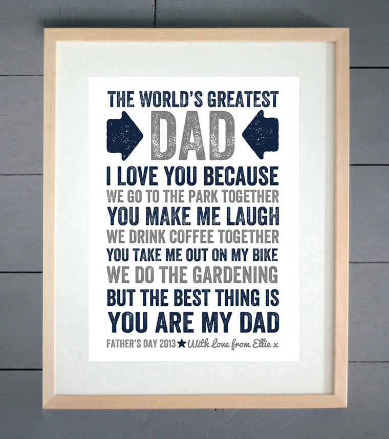World's Greatest Dad Personalised Father's Day Print