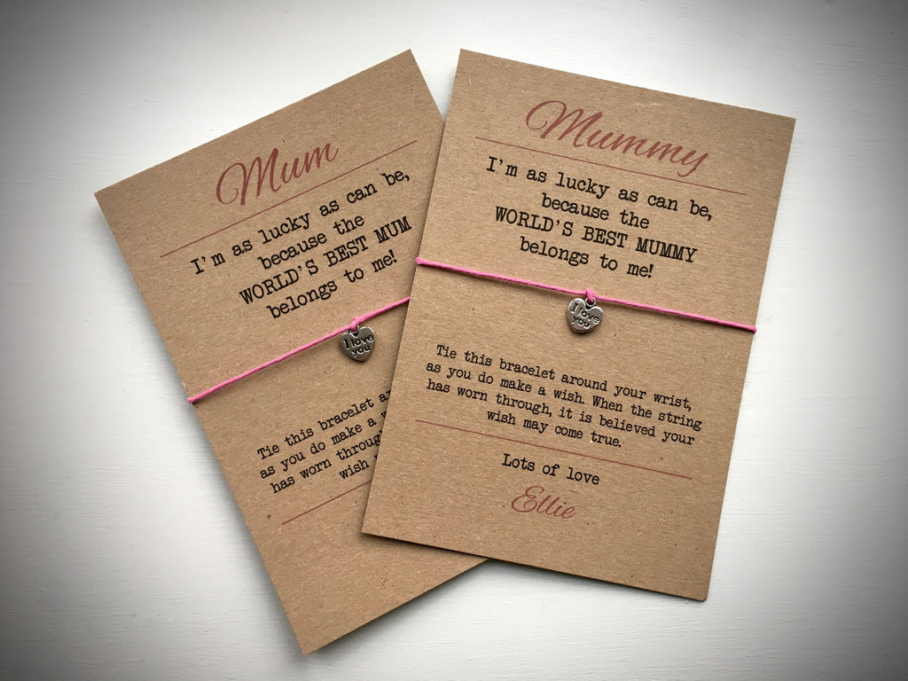 World's Best Mum Wish Bracelet & Personalised Postcard