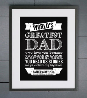 World's Greatest Dad Chalkboard Personalised Father's Day Print