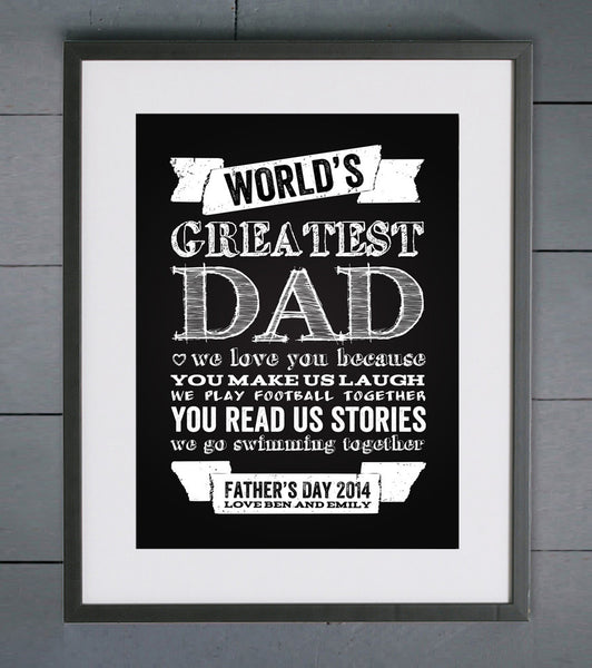 World S Greatest Dad Chalkboard Personalised Print