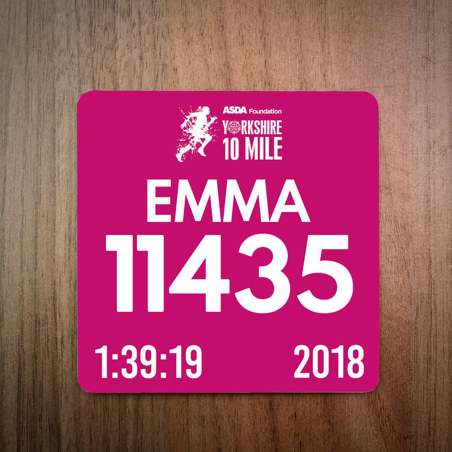 Yorkshire 10 Mile Race Bib Coaster 2018