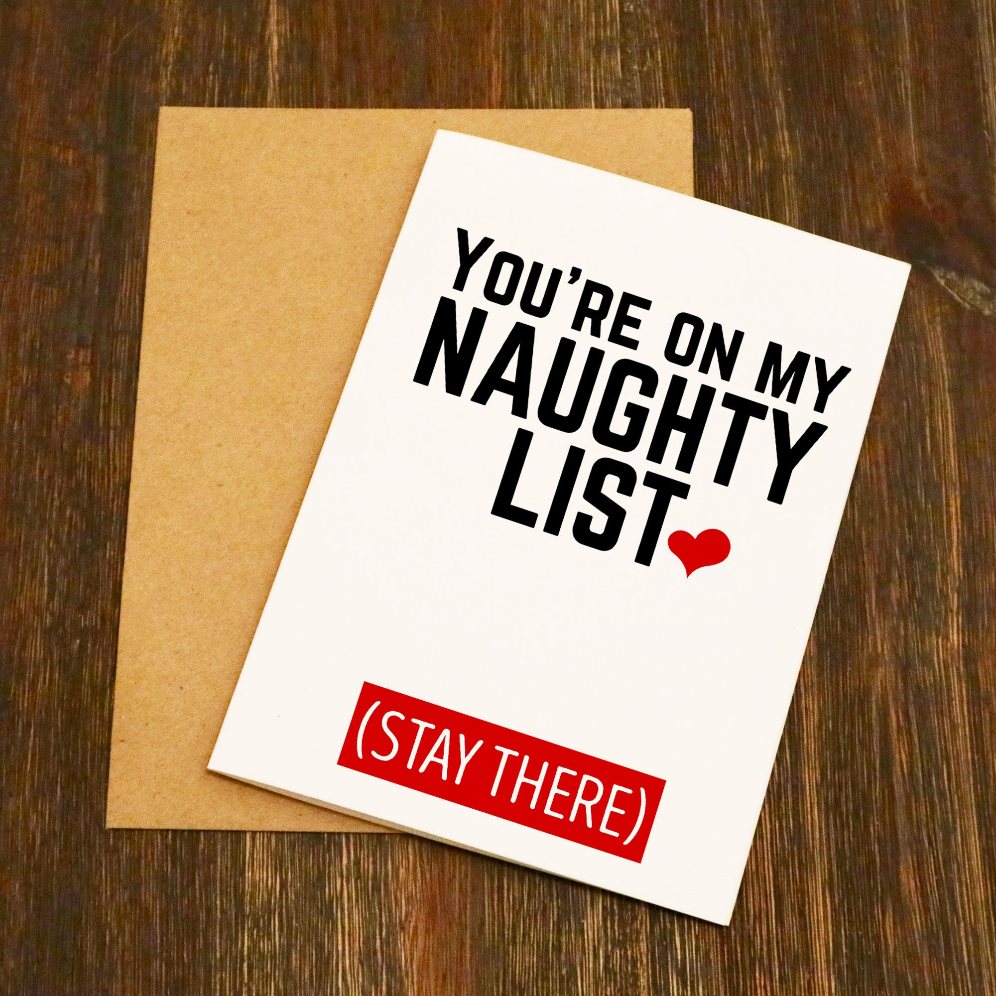 Youre On My Naughty List Stay There Christmas Card Elliebeanprints