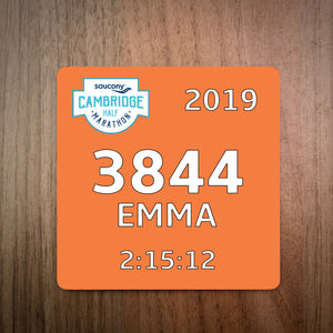 Personalised Cambridge Half Marathon Bib Coaster