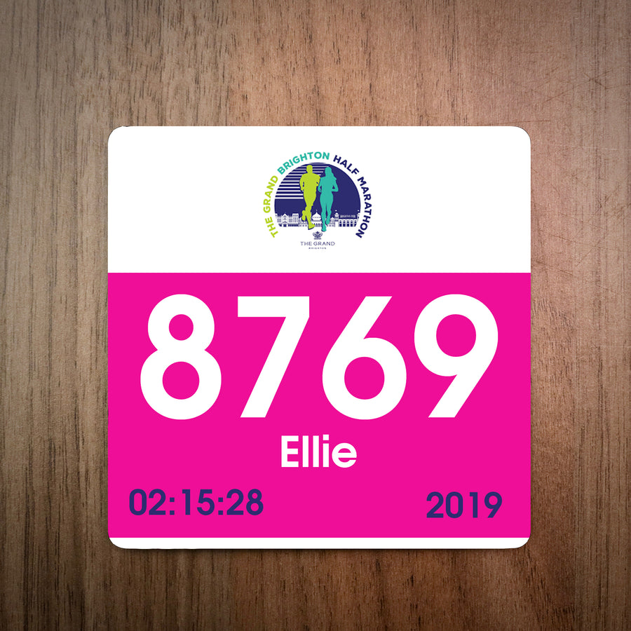 Personalised Grand Brighton Half Marathon Bib Coaster