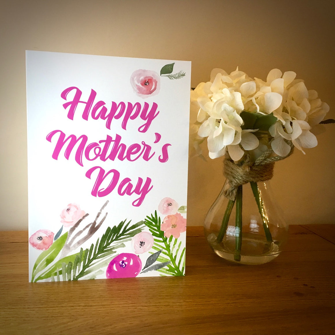 Beautiful Watercolour Flowers Mother's Day Card