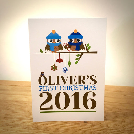 Baby Boy's First Personalised Christmas Card - Blue Owls