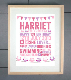 Owls & Bunting Personalised Birthday Print