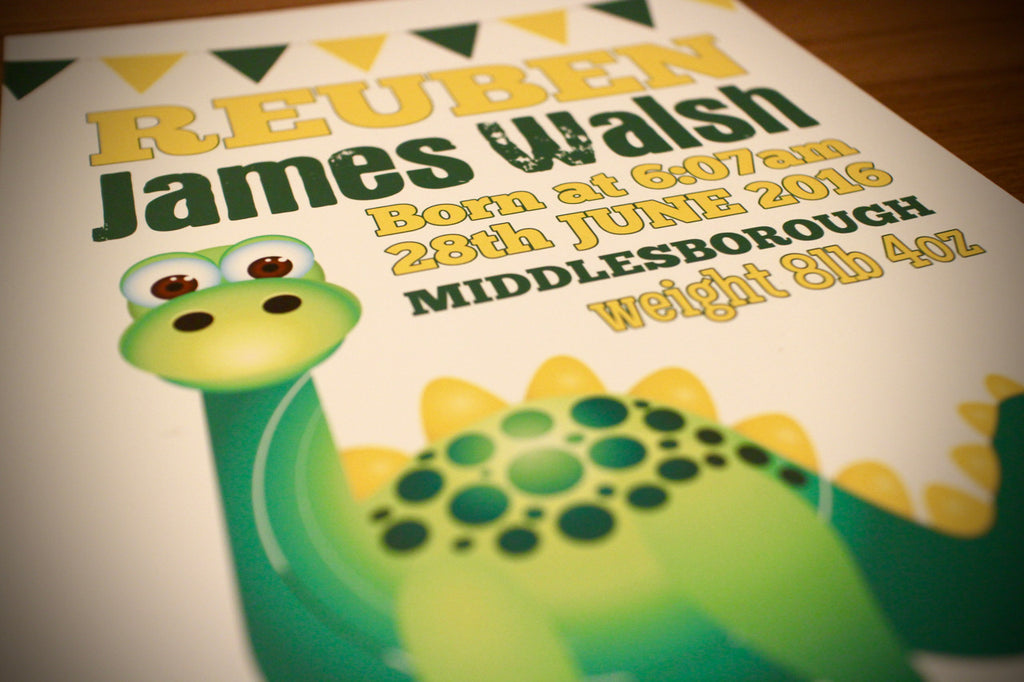 Baby Dinosaur Personalised Birth Details Print