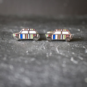 Mini Stripped Classic Enamelled Cufflinks