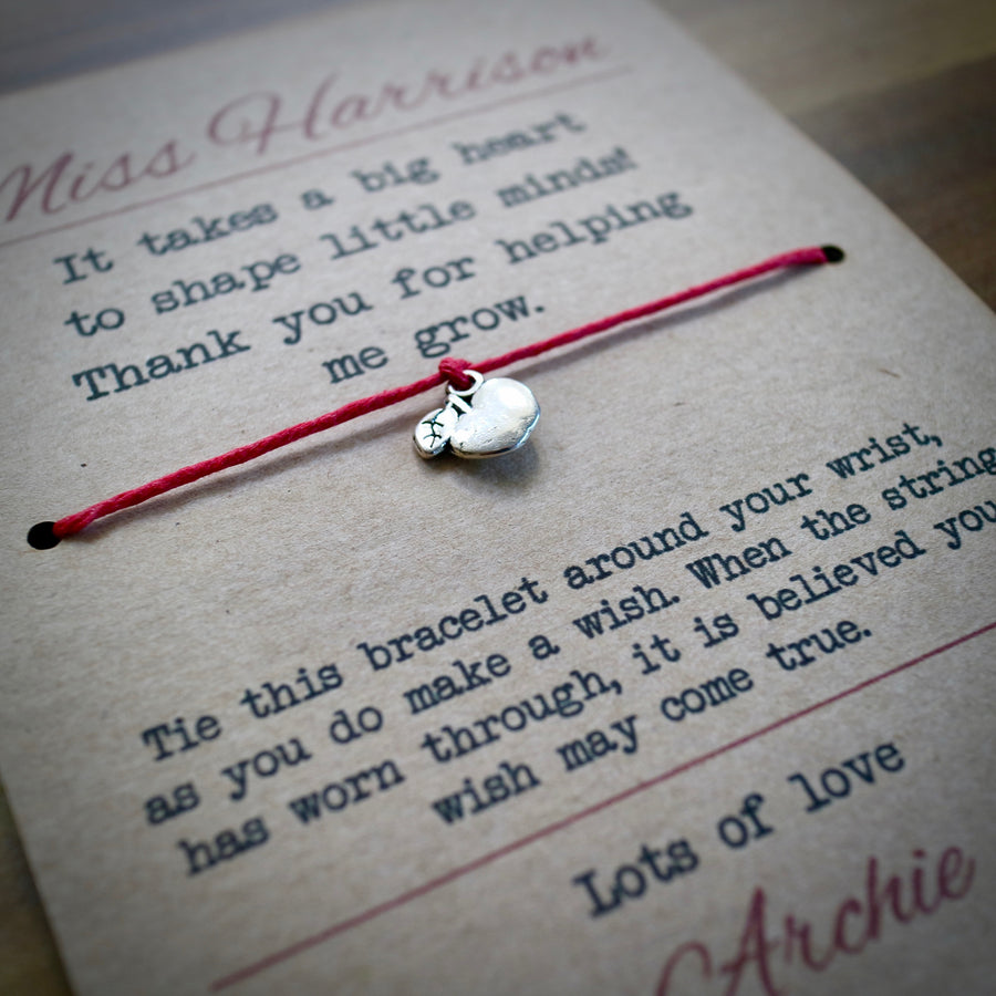 Big Heart Teacher Wish Bracelet & Personalised Postcard