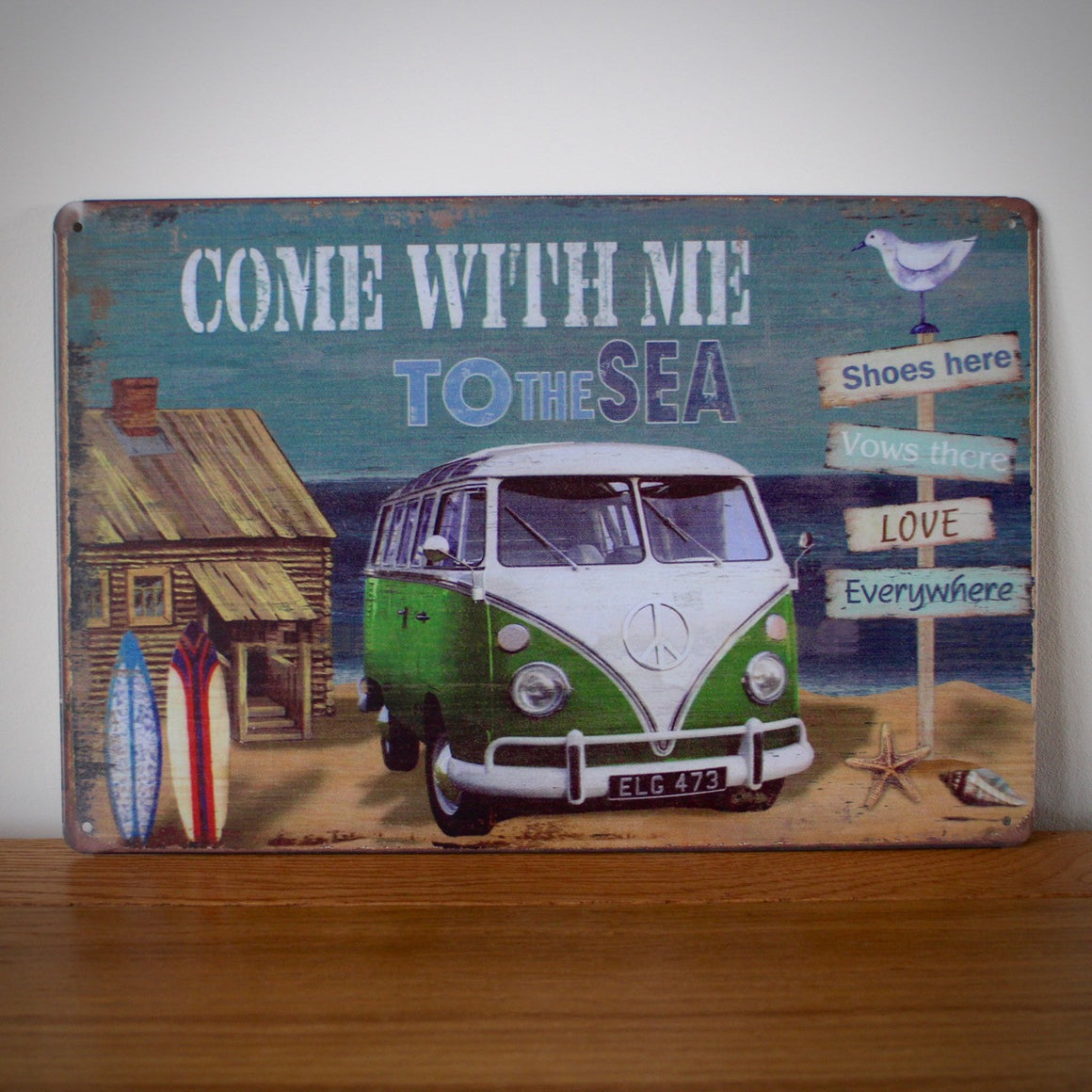 VW Camper Come With Me To The Sea Vintage Tin Sign