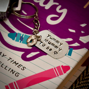 Hand Stamped Yummy Mummy To Be  Keyring